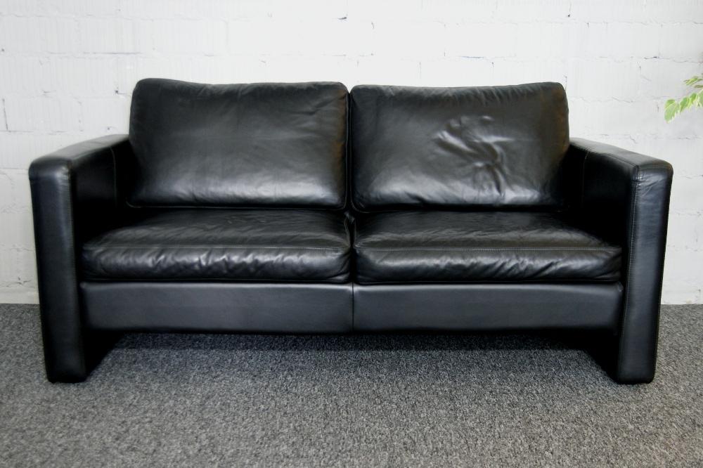 COR Conseta Sofa 2-Sitzer Leder schwarz